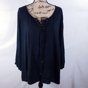 CATO black flowy blouse sz 28/28w